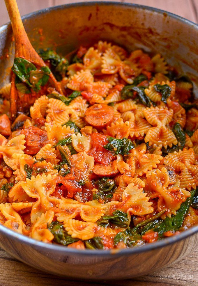 Weight Watchers and Slimming World Recipes Sausage, Tomato and Spinach Pasta | Slimming World