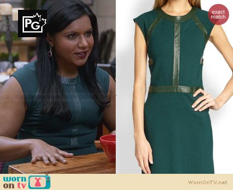 Mindy's green leather trimmed dress on The Mindy Project.  Outfit Details: http://wornontv.net/30760/ #TheMindyProject
