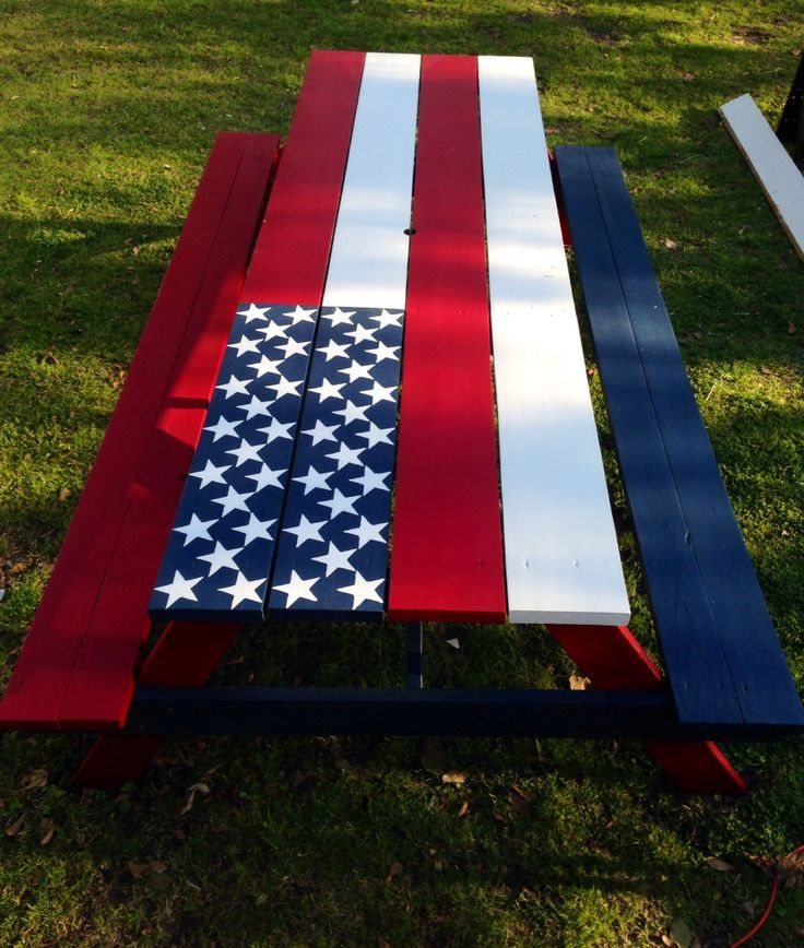My Patriotic Picnic Table I Made Love The American Flag