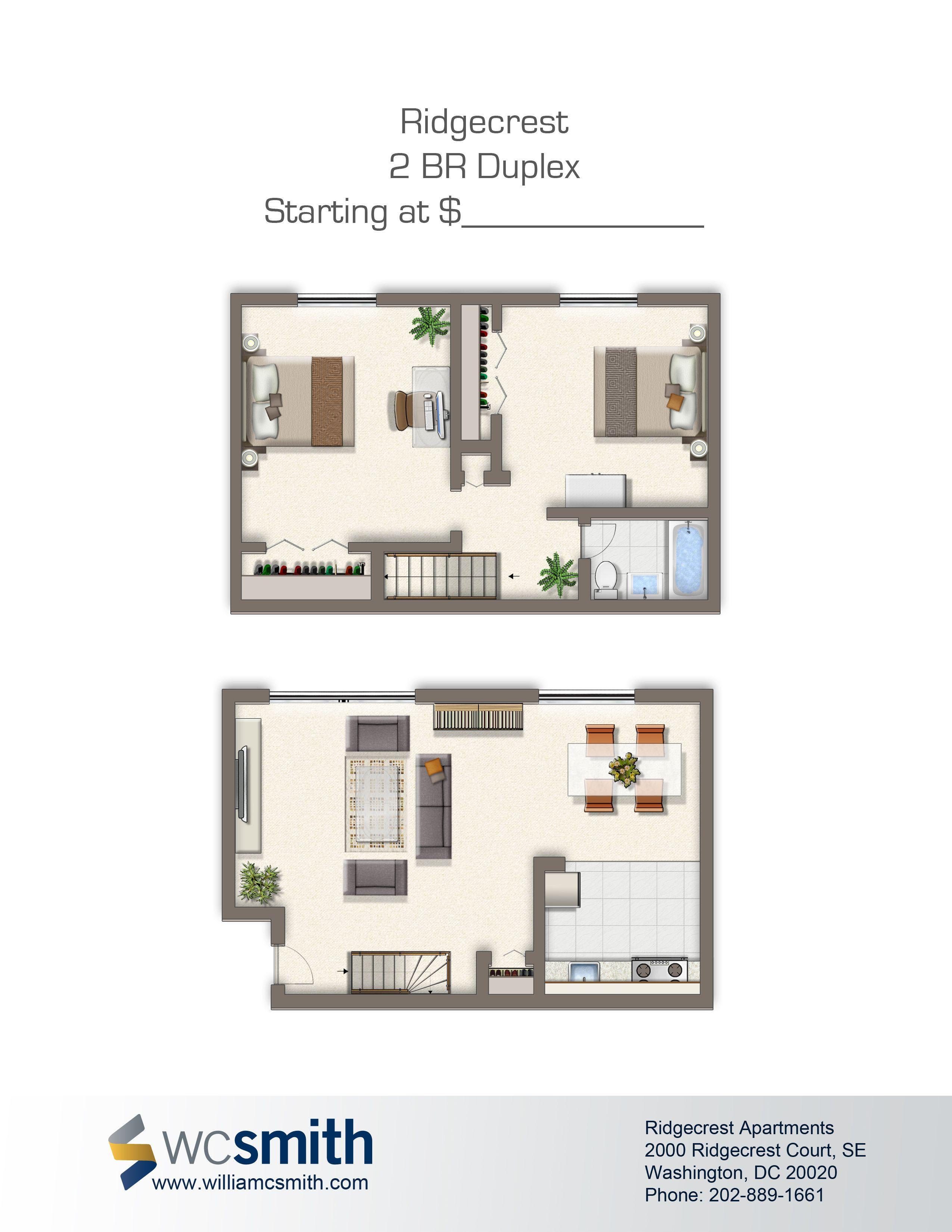 Ridgecrest Apartments Duplex floor plans, Apartment