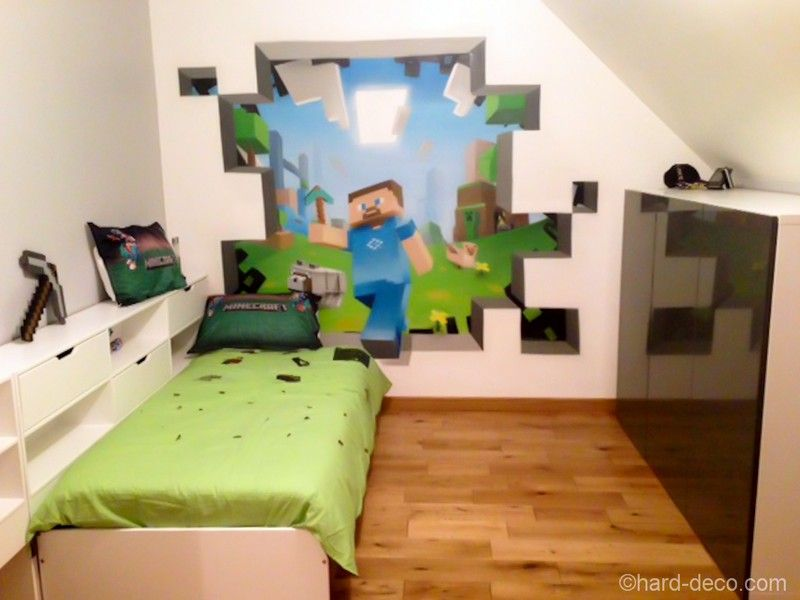 cool minecraft stickers magnifique d co de chambre sur. Black Bedroom Furniture Sets. Home Design Ideas
