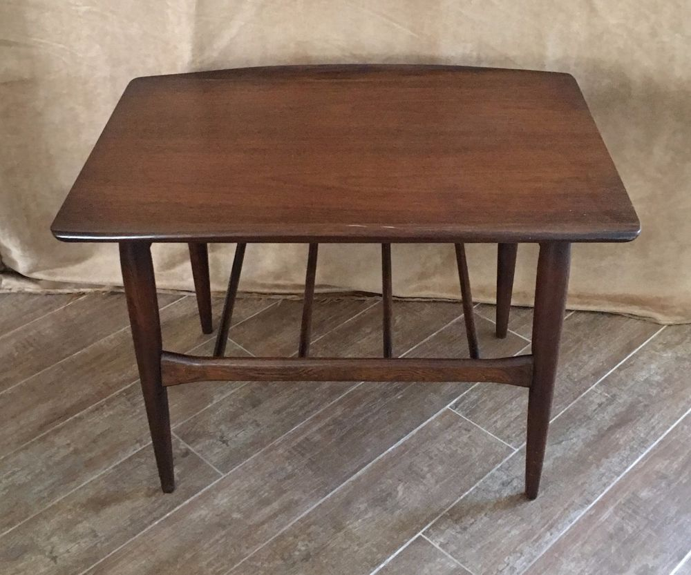 Mid Century Modern Bassett Furniture Two Tier Surfboard Side End Table  Vintage #MidCenturyModern #BassettFurnitureIndustries
