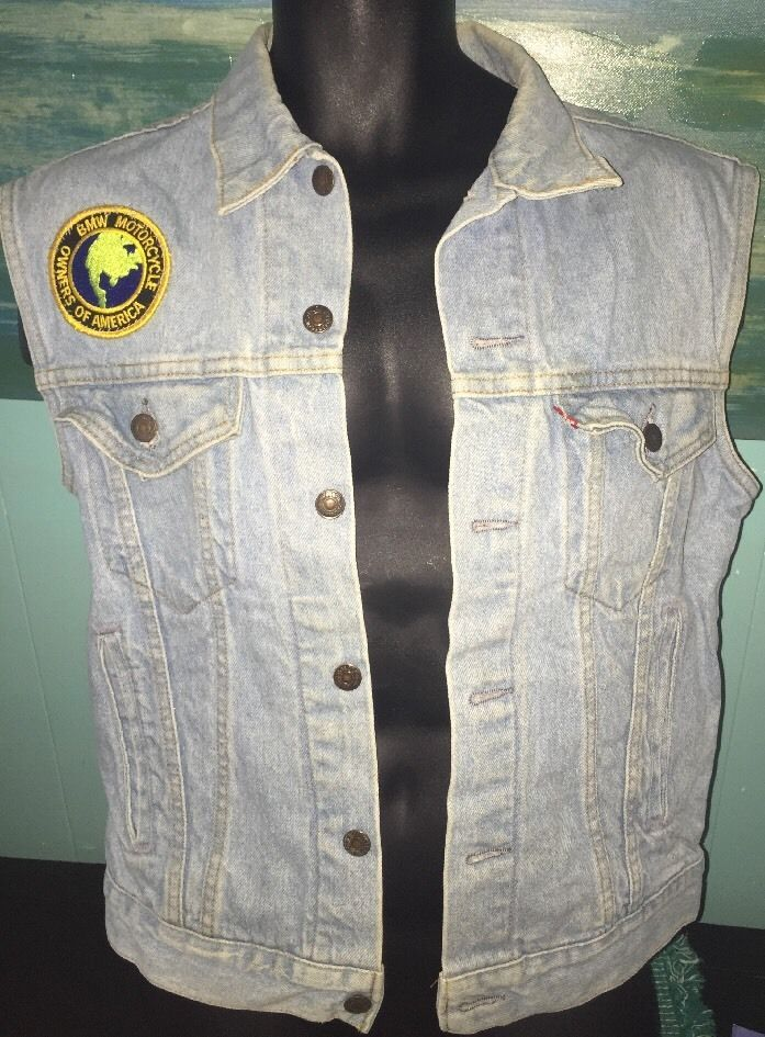 Mens Sz M Levi Strauss VTG Denim Biker Vest BMW