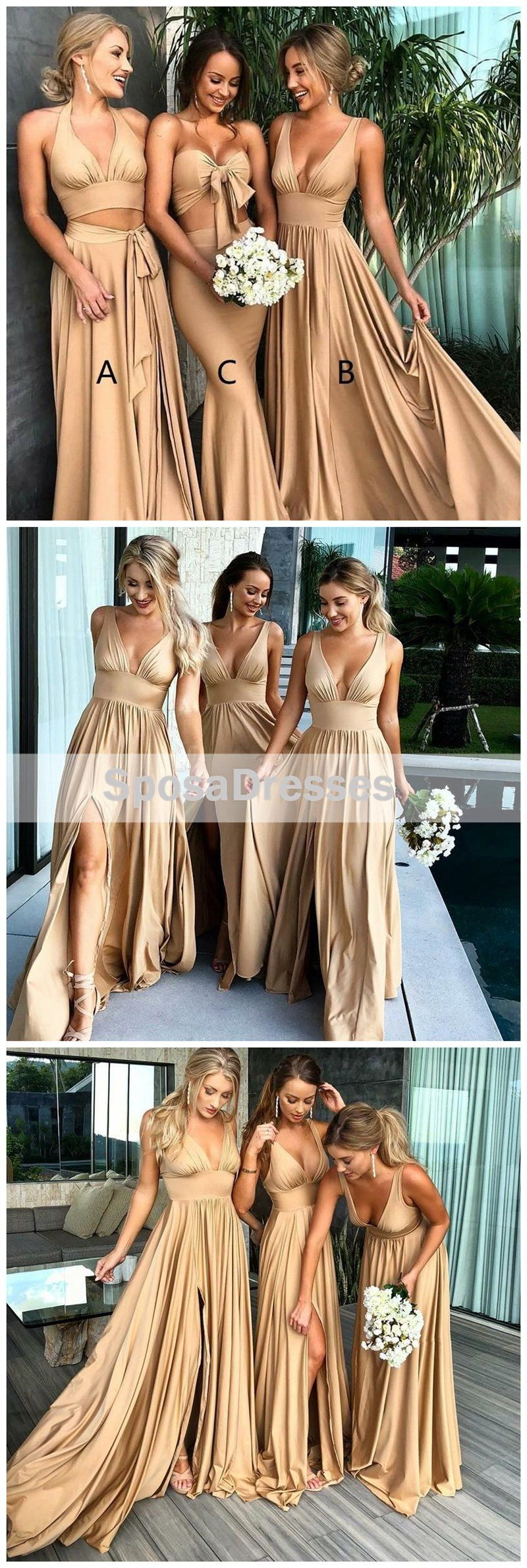 Sexy mismatched side slit long gold bridesmaid dresses wg