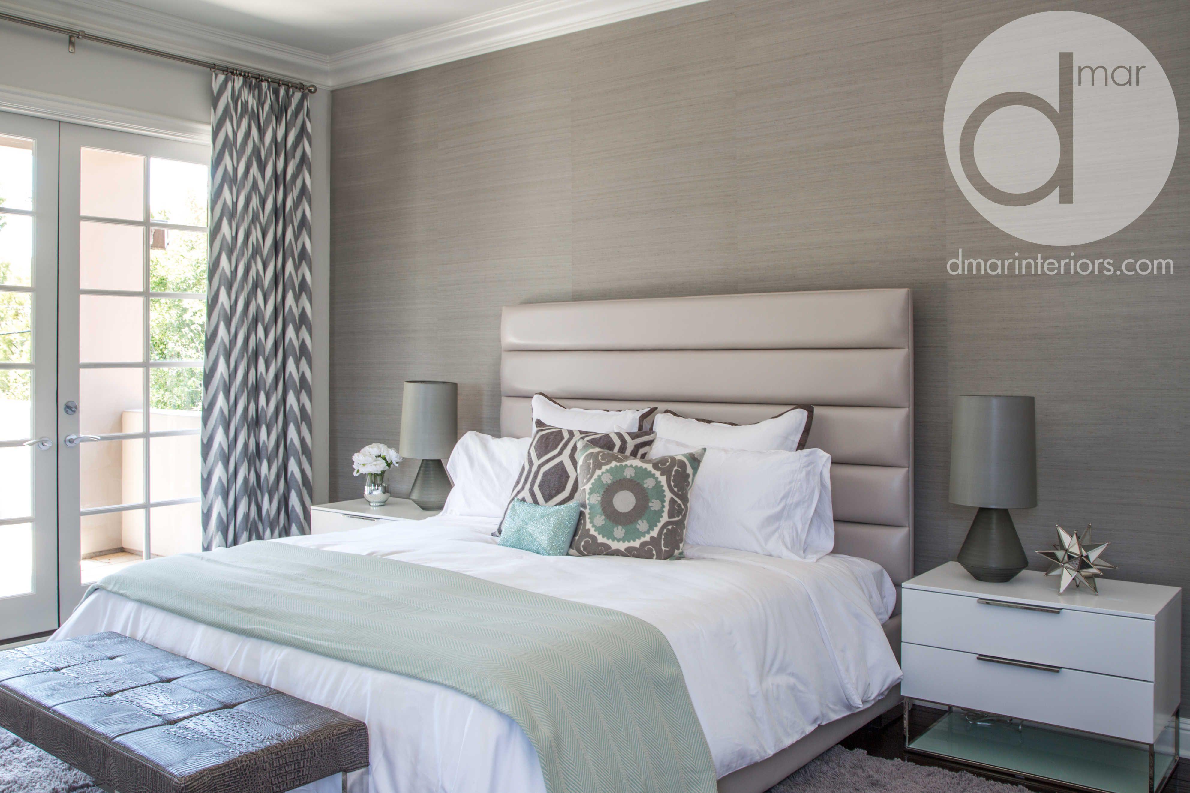 Master Bedroom, King Size Bed, Tall Channel Headboard, Custom Drapery,