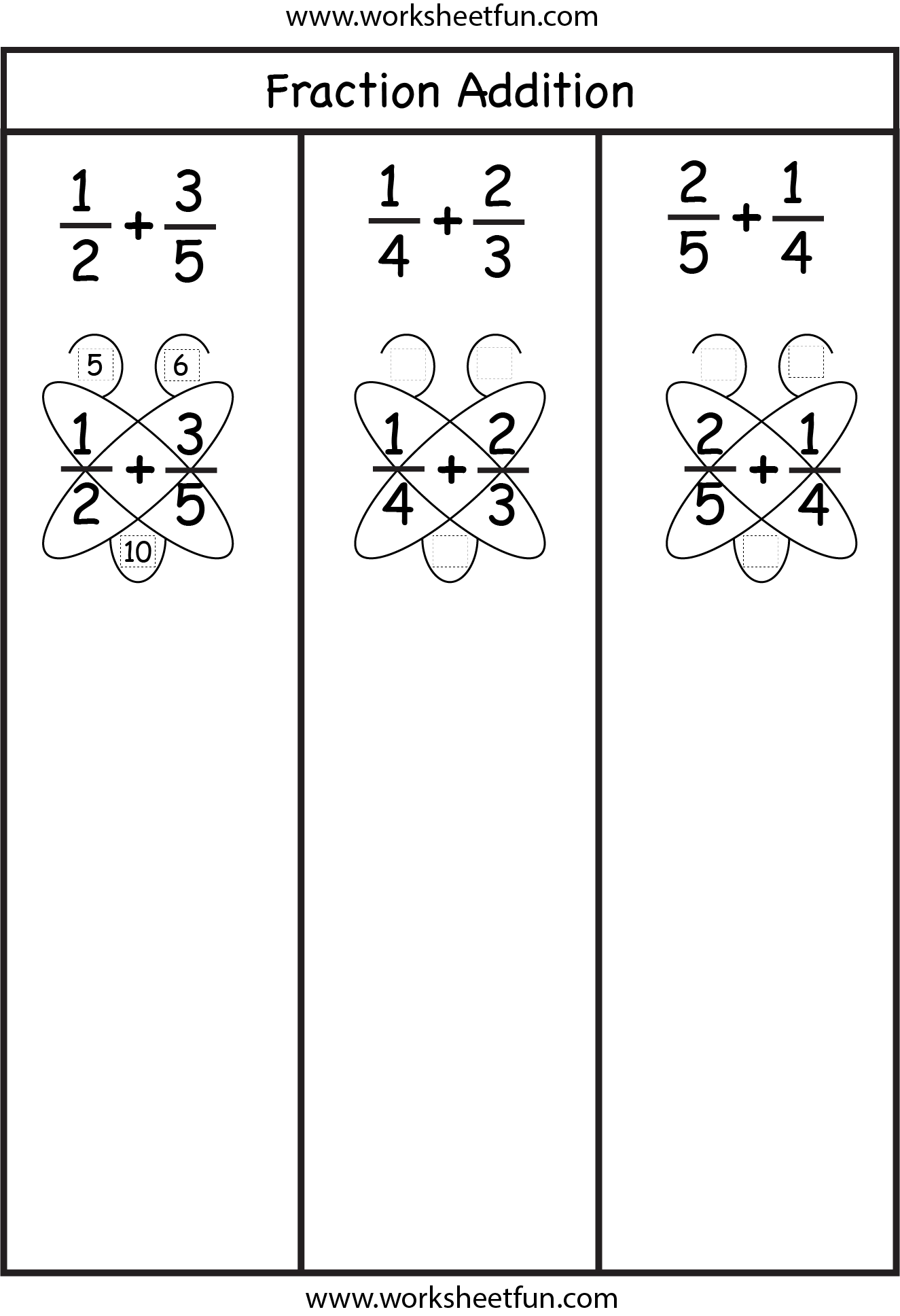 Fraction Addition – Butterfly Method   Addition of fractions [ 1937 x 1325 Pixel ]