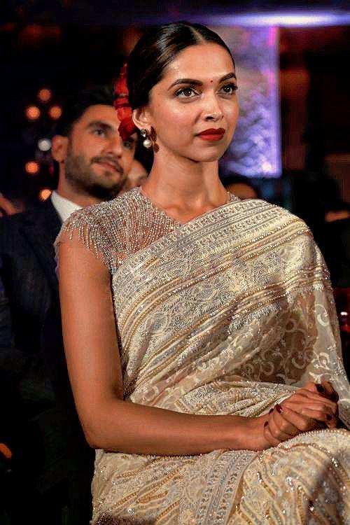 Deepika Padukone in an ivory Abu Jani & Sandeep Khosla ...