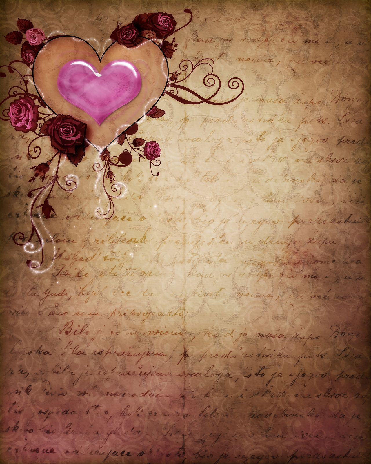 Vintage Romance 01 Romantic Background Free Printable Stationery Writing Paper Printable Stationery