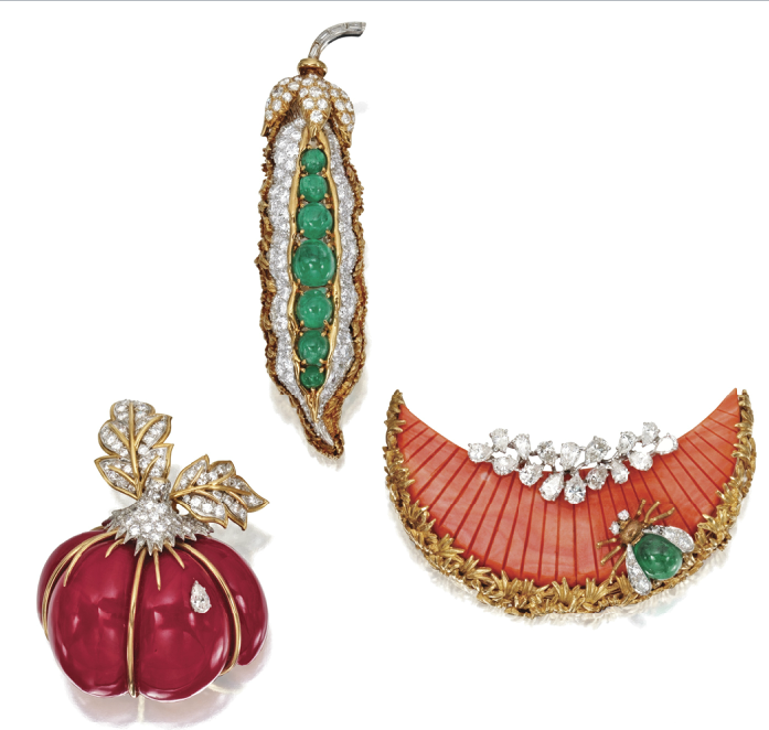 David Webb ~ gold, platinum, emerald, diamond, and coral, fruit and vegetable brooches.