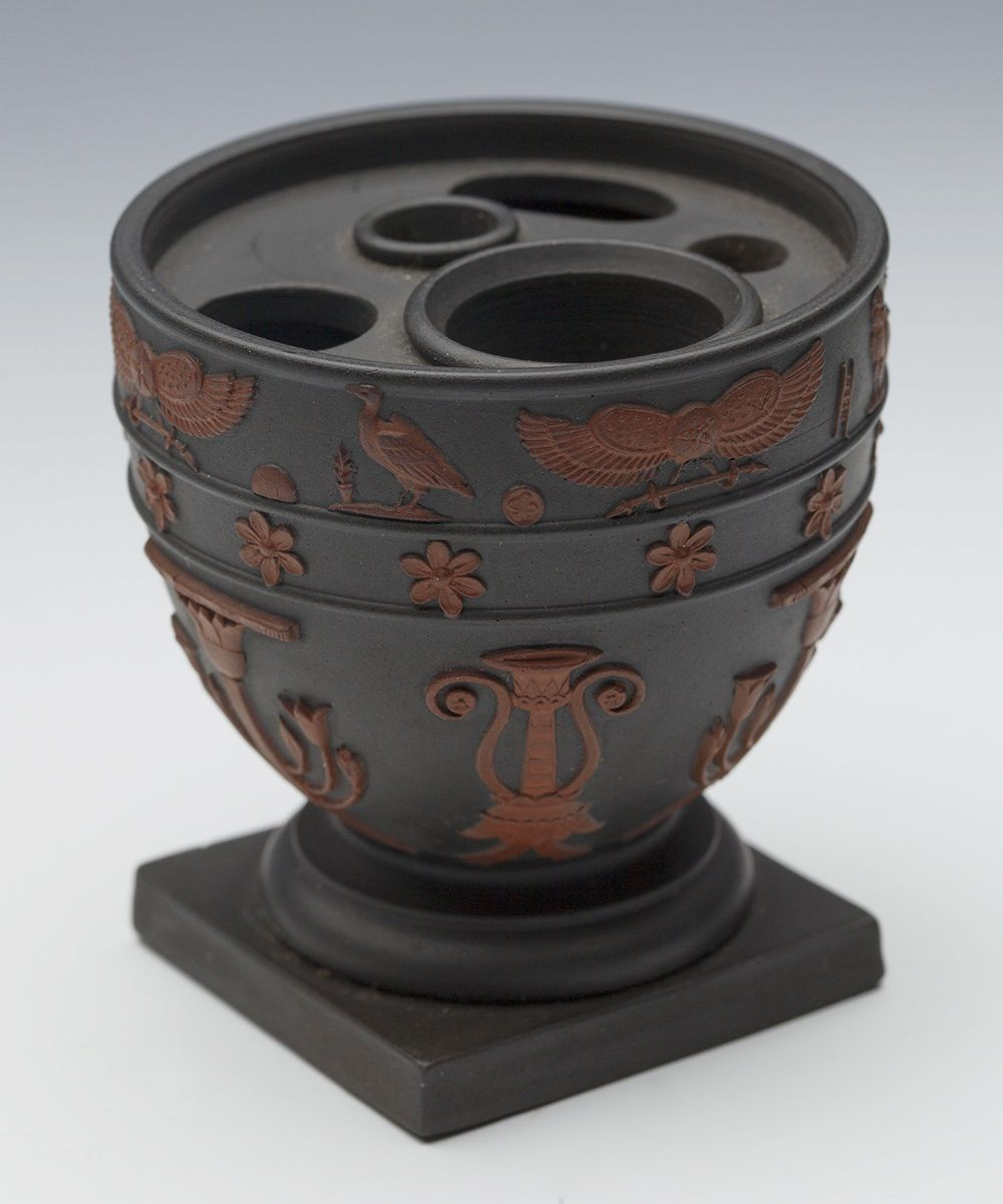 Very Rare Antique Wedgwood Egyptian Revival Black Basalt Inkwell C 1805 Black Basalt Wedgwood Pottery Wedgwood