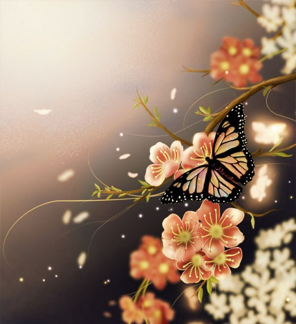 Photoshop Tutorial: How to Make a Beautiful Spring Butterfly Scenery