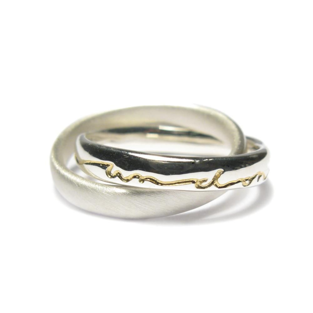 80956c9741e4d Diana porter Jewellery contemporary silver gold etched intertwined ...