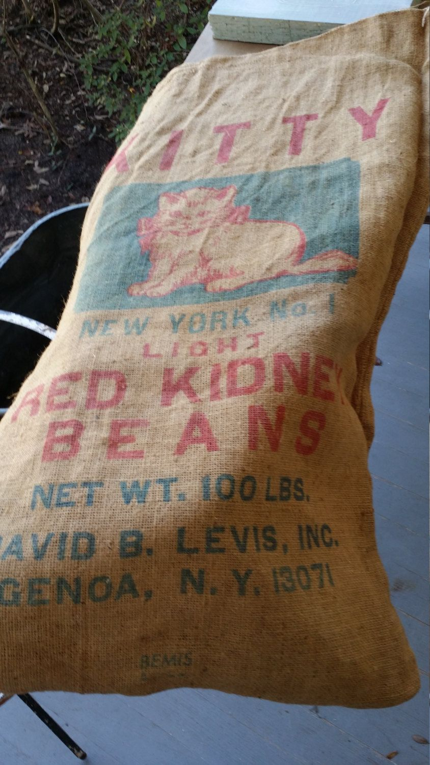 Burlap Feed -  Sack Kitty Brand Red Kidney Beans by BabyBAntiques on Etsy