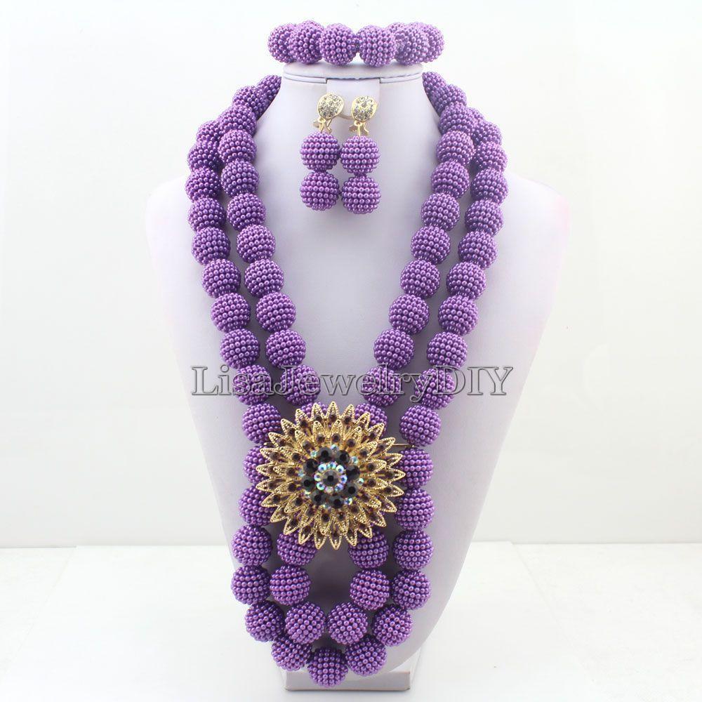 2017 New Arrival Fashion beads necklace set nigerian wedding ...