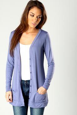 Demi Button Jersey Cardigan