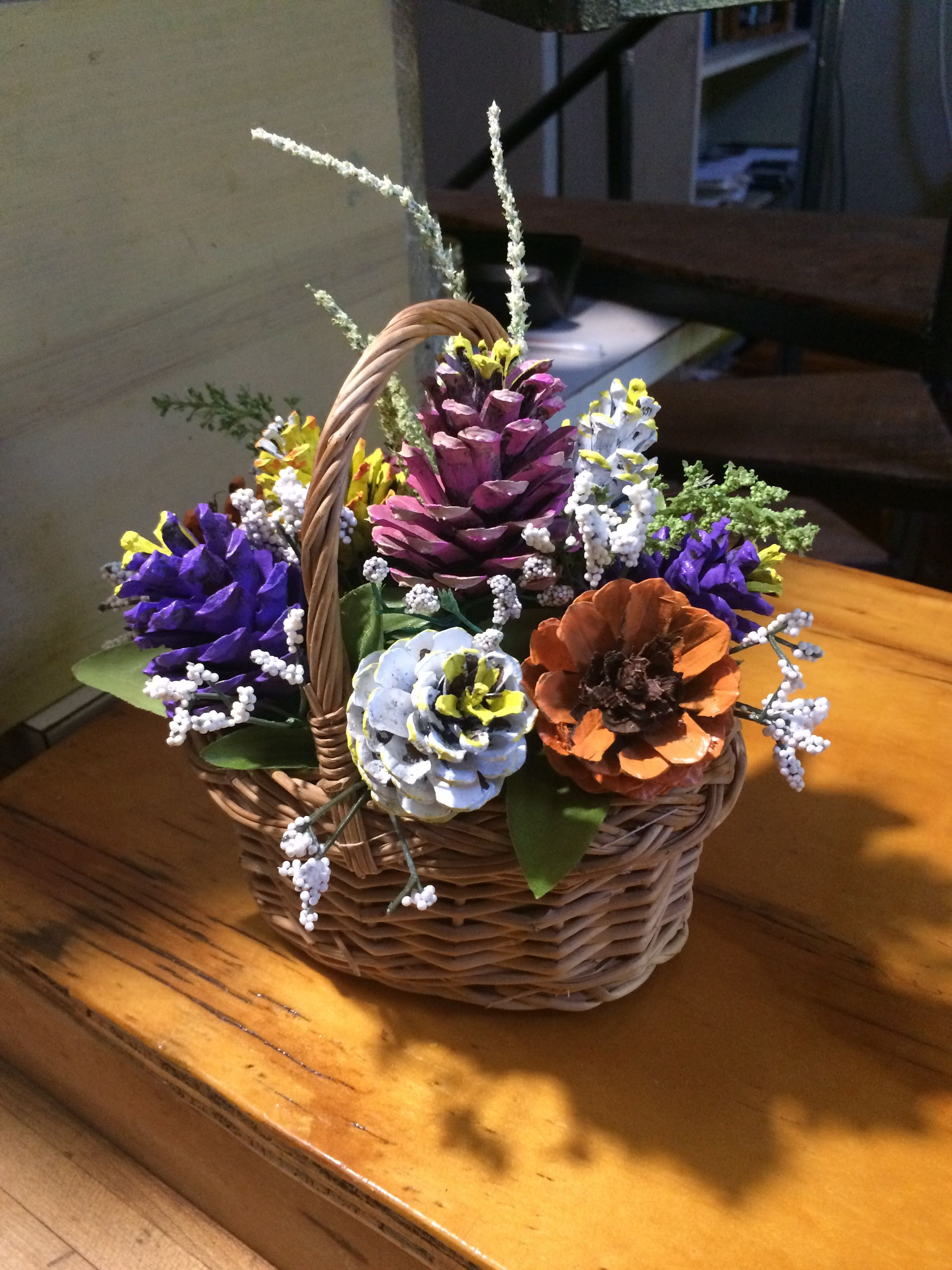 Painted Pinecone Flowers In Basket By Cat Pine Cone Decorations Painted Pinecones Pine Cone Crafts
