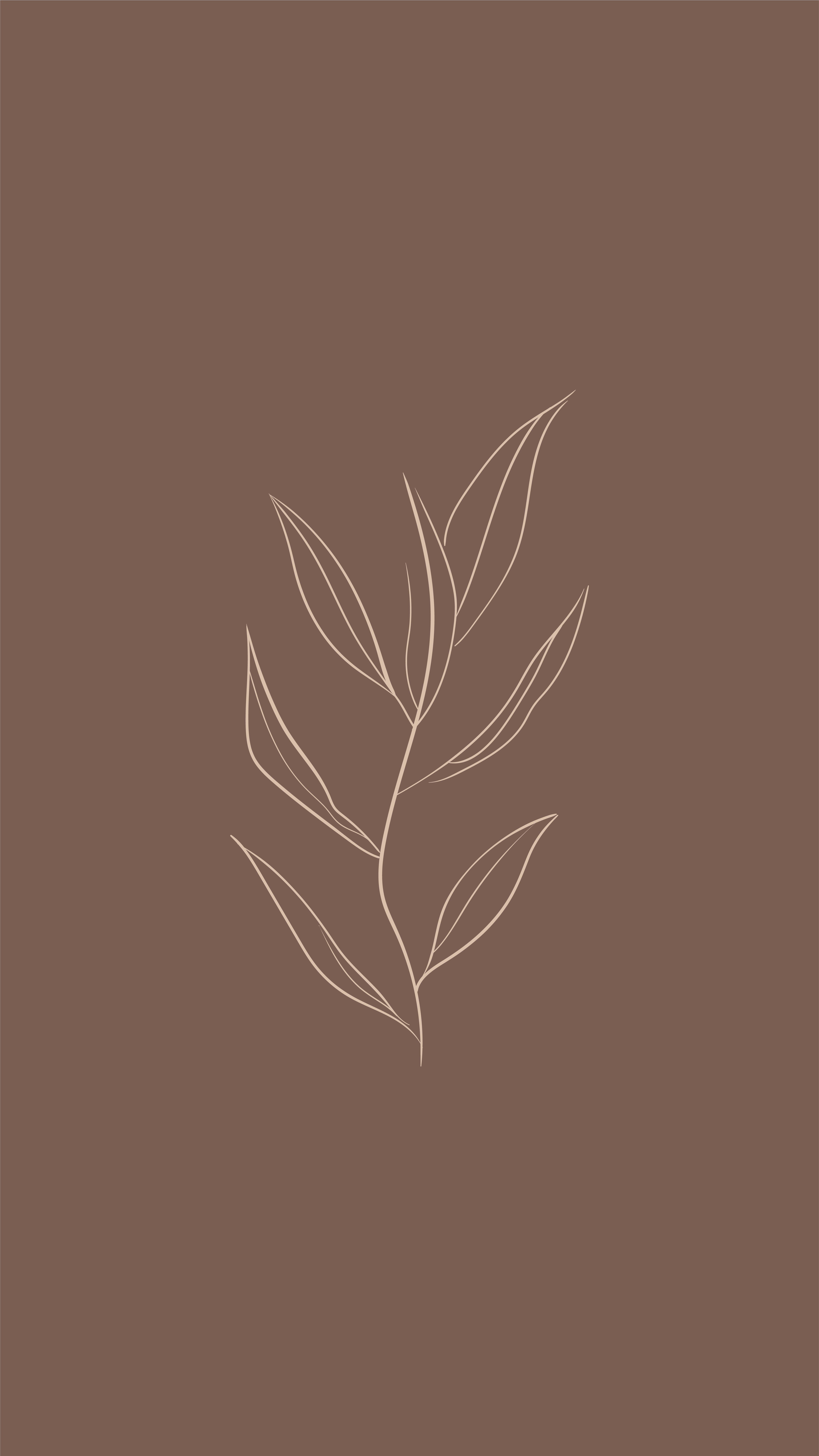 Wallpaper for iPhone - Instagram Background - Botanical line - Hand Drawn Flower