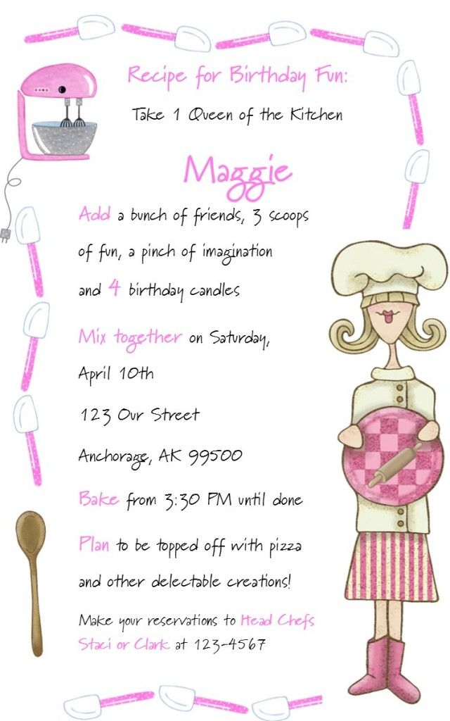 cooking party invitation wording | Future BD party? | Pinterest ...