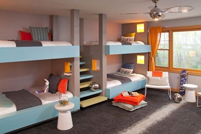 Moderne Kinderbetten Für Geschwister Treppe Statt Leiter Entspannende Farben