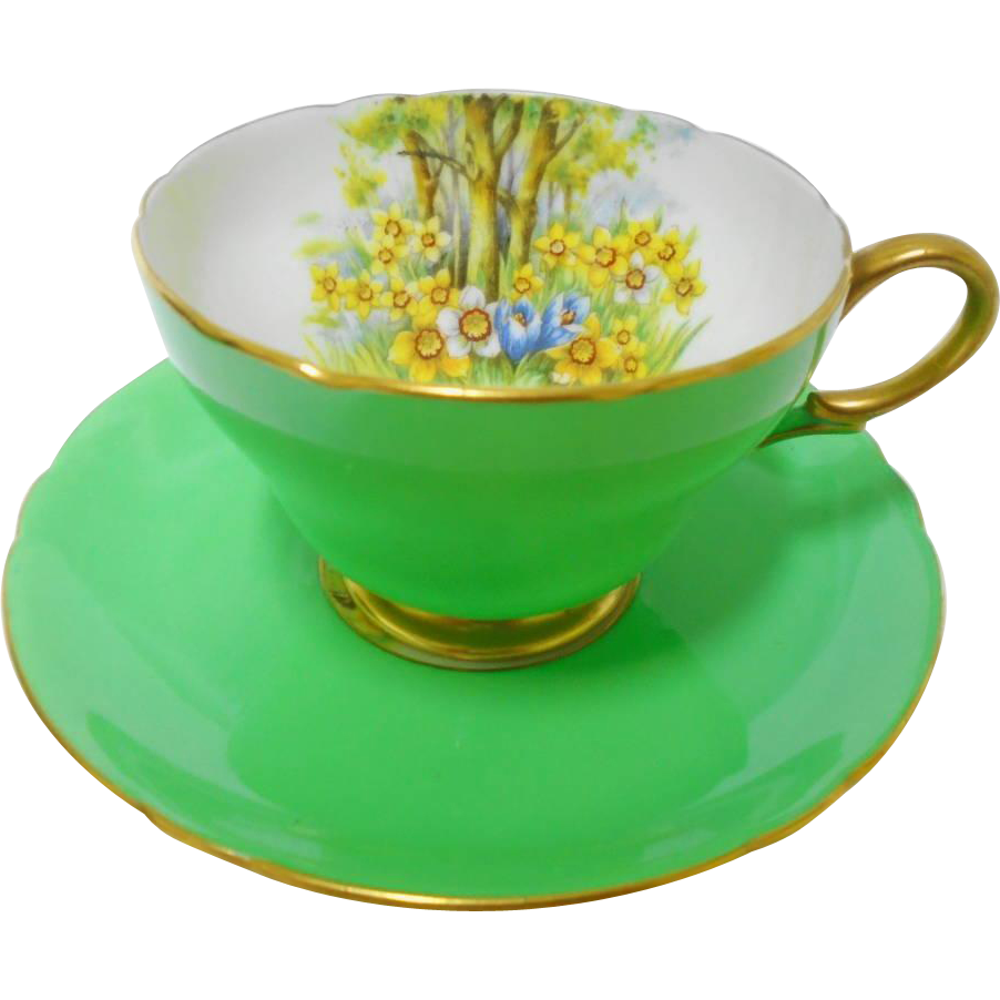 Shelley Henley Daffodil Time Green Tea Cup And Saucer Yellow Daffodil Gold Teacup Tea Cups Green Tea Cups Tea Pots Vintage