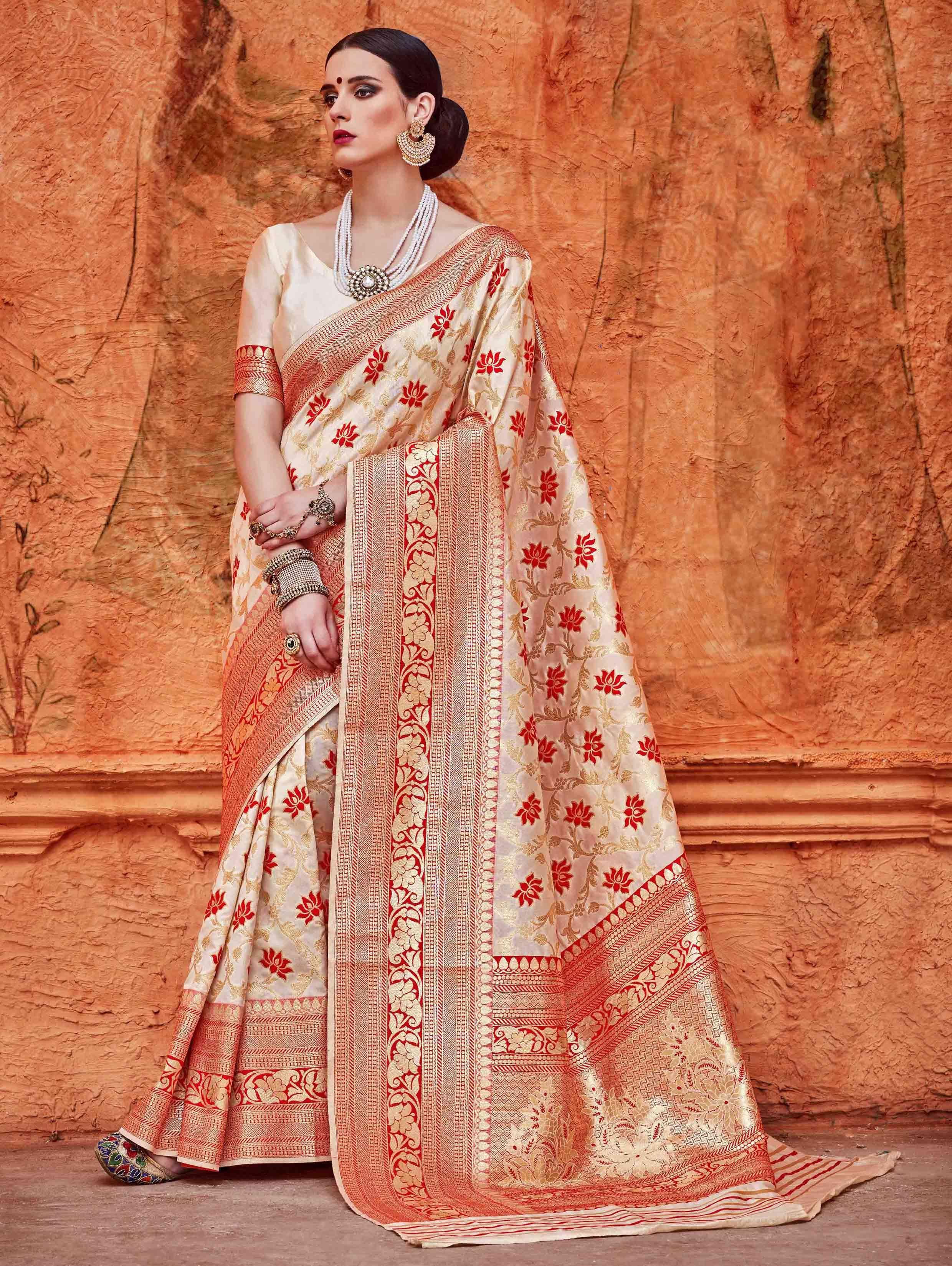 c7532a779fa8e Red and Cream Silk Saree with Zari Weaving
