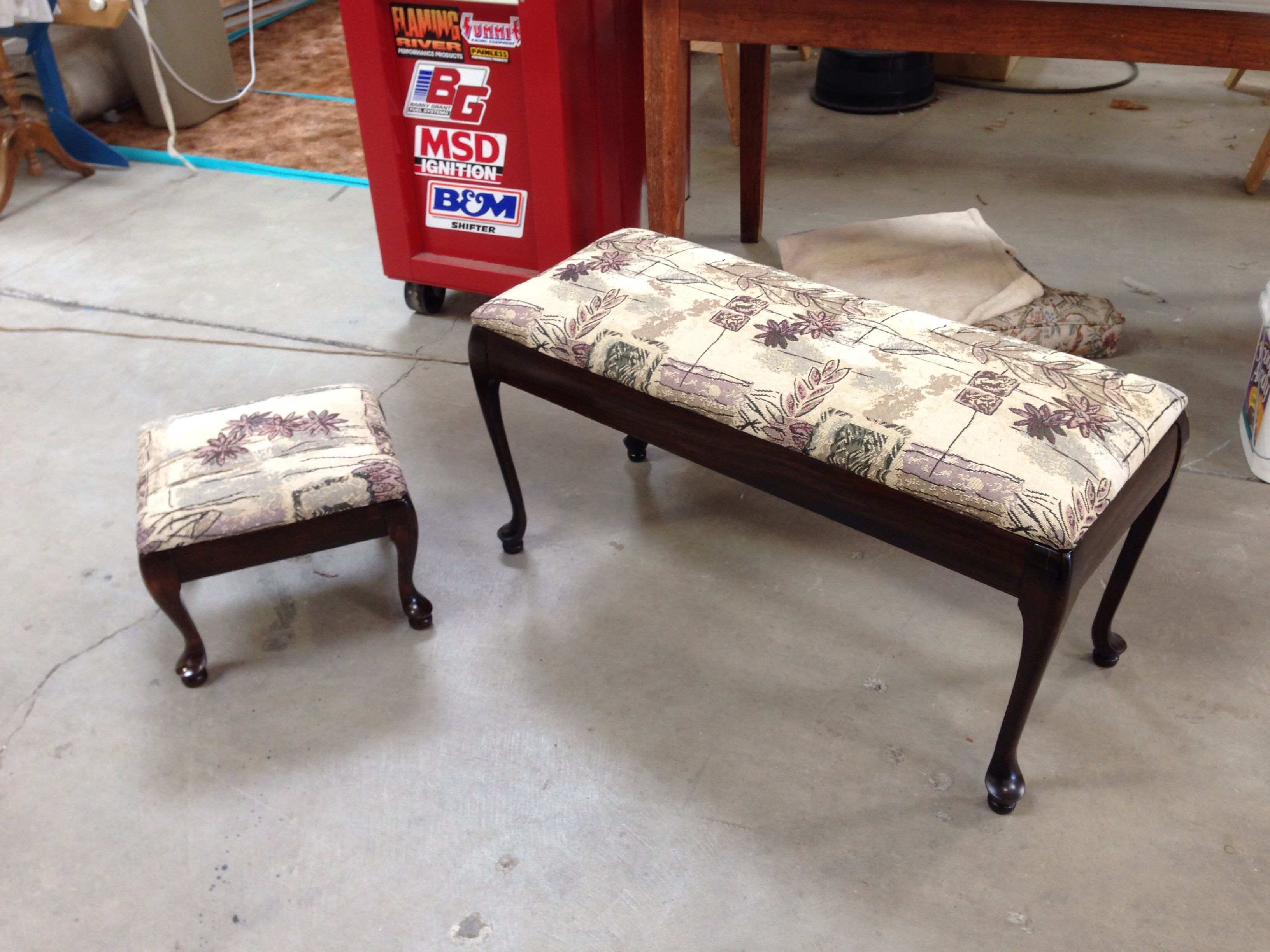 Here Is A Cute Piano Bench And Foot Stool Set These Were Completely Refinished And Reupholstered Piano Bench Footstool Reupholster