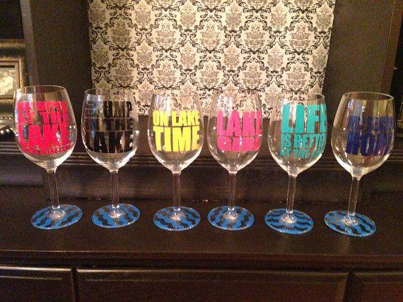 Custom Lake Sayings Vinyl Wine Tumbler Glass Decals Wine - Custom custom vinyl decals for cups