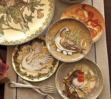 Pottery Barn Twelve days of Christmas salad plates - 12 & Pottery Barn: Twelve days of Christmas salad plates - 12   Gift ...