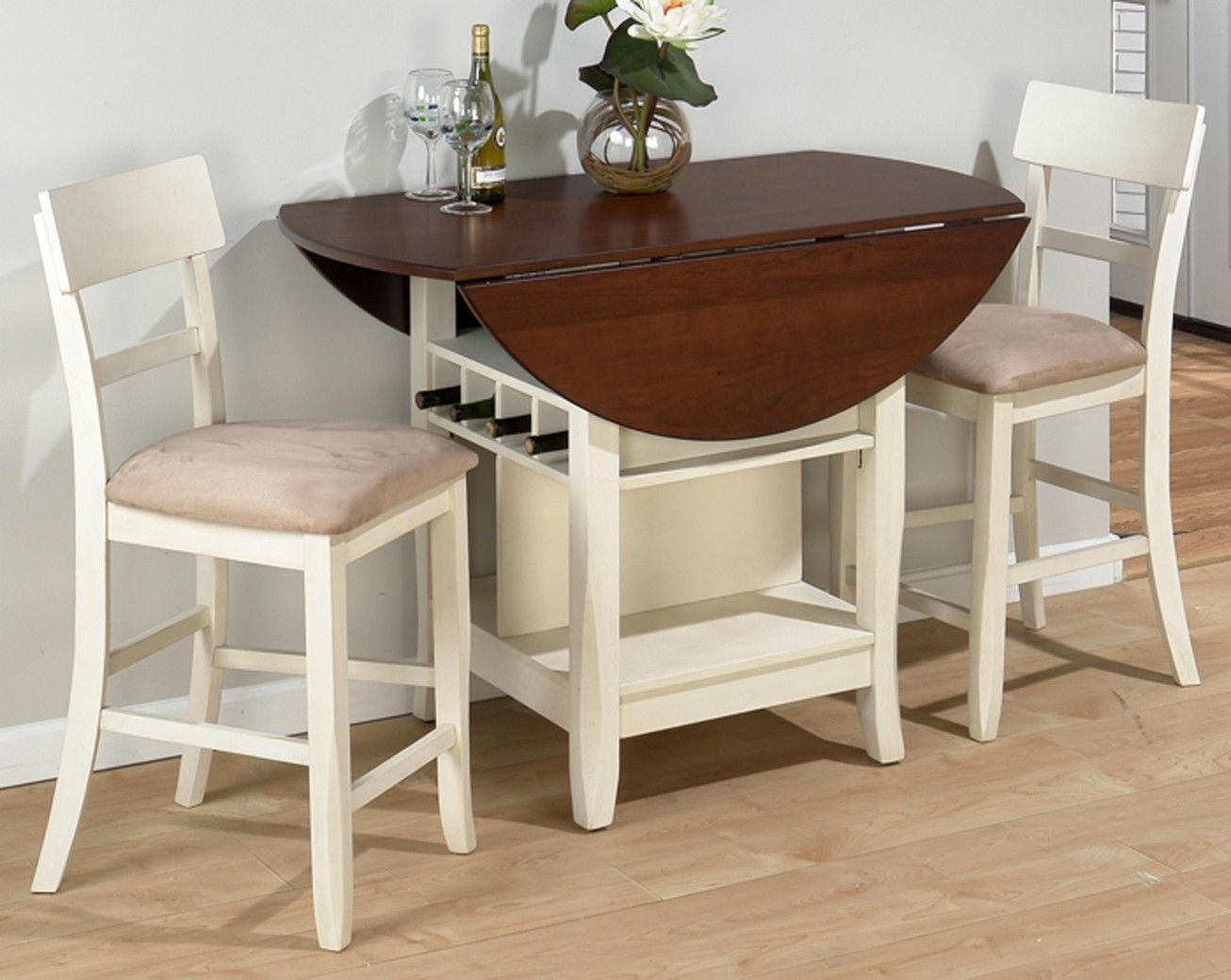Statue Of Compact Dining Space Arrangement With Drop Leaf Dining Table For  Small Spaces