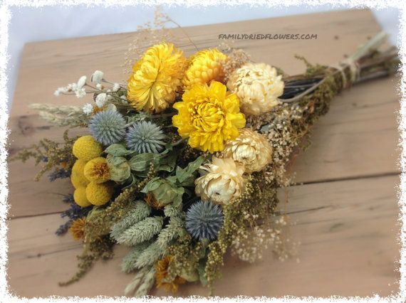 Yellow Sunny Collection w/ Soft Gray Blue Accents – DIY Bundle of Coordinating Flowers – Dried flowers – cream yellow sage – Rustic Wedding