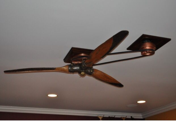 Antique Plane Propeller Ceiling Fan On Pulley System Propeller