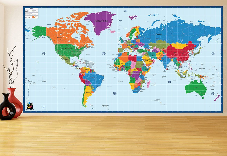 Children Educational Wall Stickers World Map 96h School Office