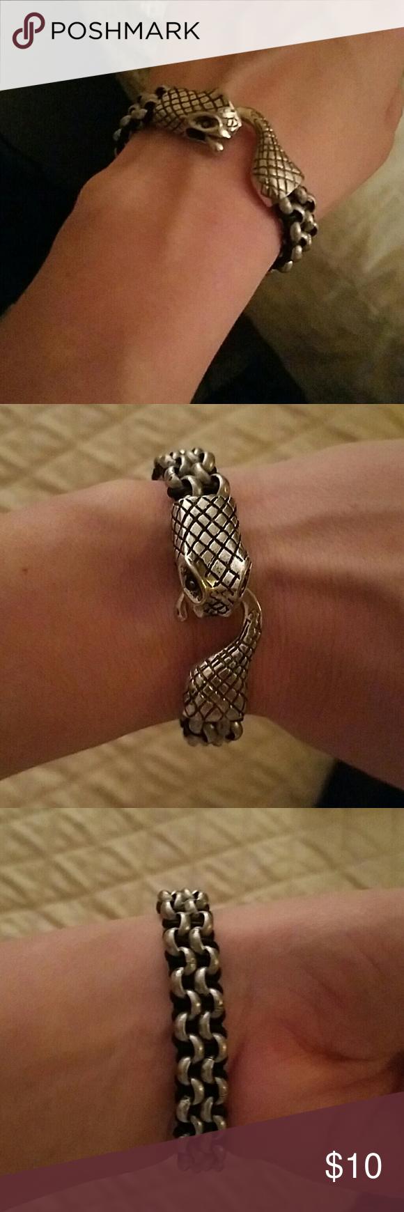 Snake bracelet Snake clasp silver and black bracelet 7.25 inches long Jewelry Bracelets