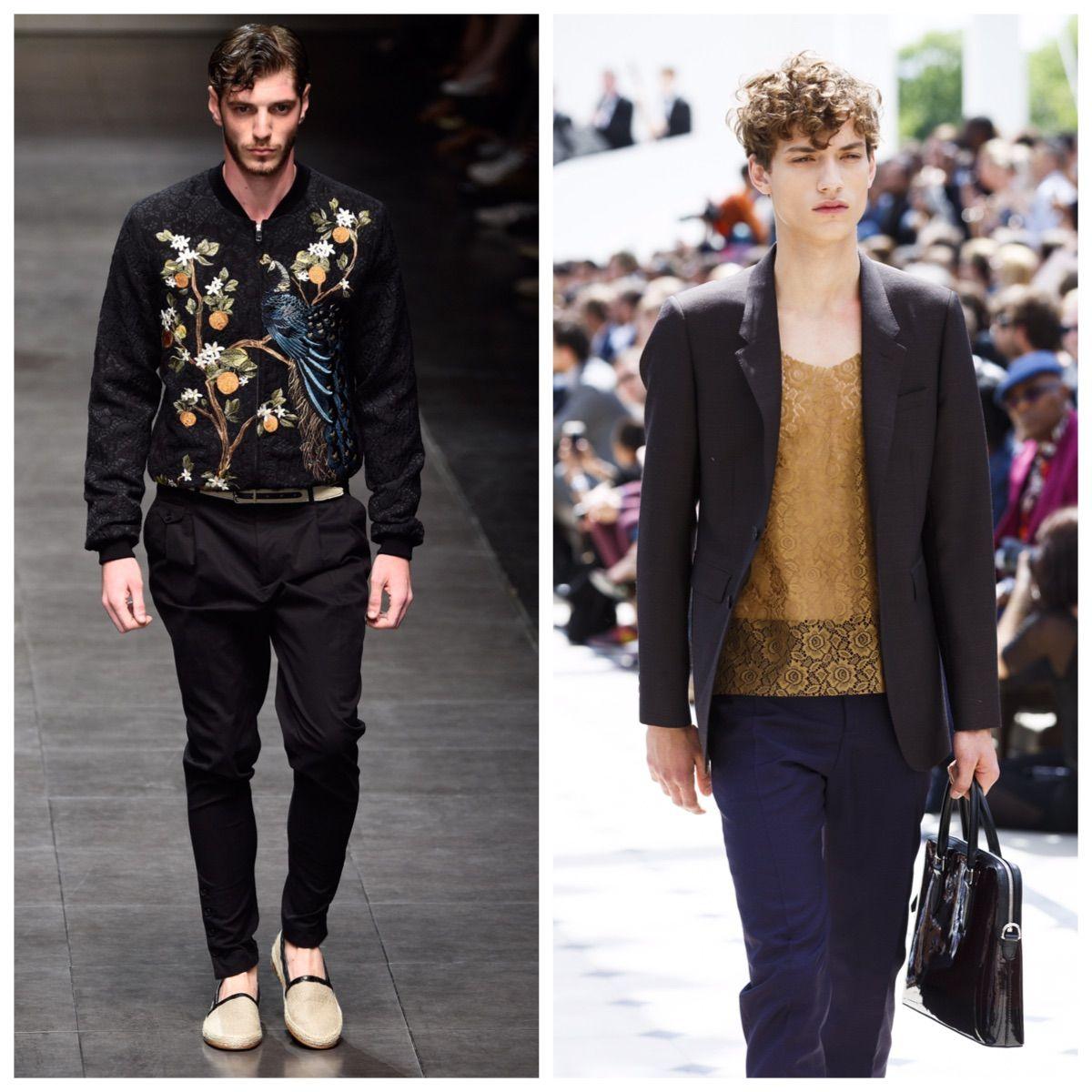 A jaqueta Sukajan da Dolce & Gabbana, com reproduções de tatuagens japonesas, revelou uma moda trangressora e decorativista feita para homens no  Milão Fashion Week 2015. O homem da Burberry usou bolsa de mão e blusa com tecido elaborado como o jaccard, no London Collections Men 2016