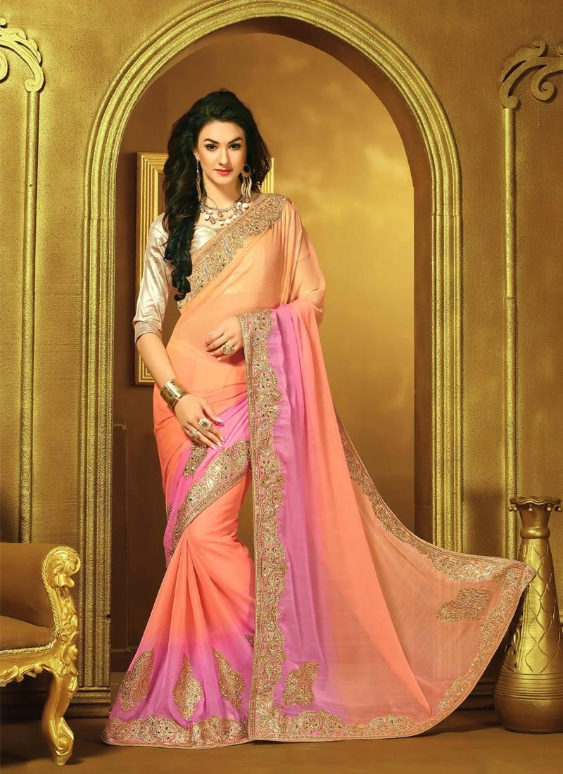 Impressive Multi Colour Embroidered Work Faux Chiffon Designer Saree