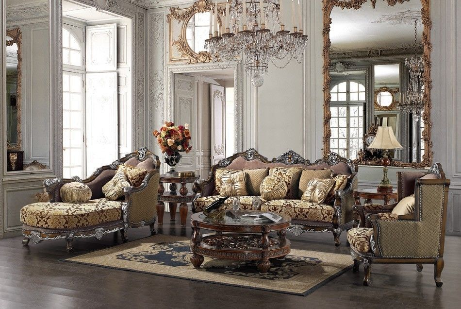 Formal Luxury Sofa & Chaise Lounge Traditional Living Room Furniture Set HD-1682