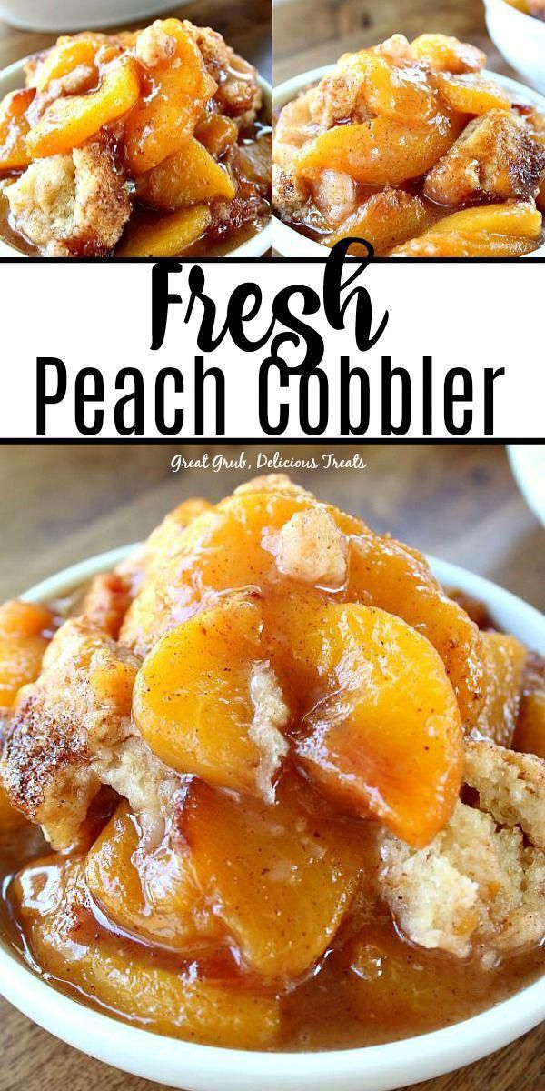 Fresh Peach Cobbler is packed full of fresh, juicy peaches, topped with a delicious cake-like topping and is full of delicious flavor. #peachrecipes #fruitcobblers #fruit #homemade #greatgrubdelicioustreats #peachcake #peachcobblerpoundcake
