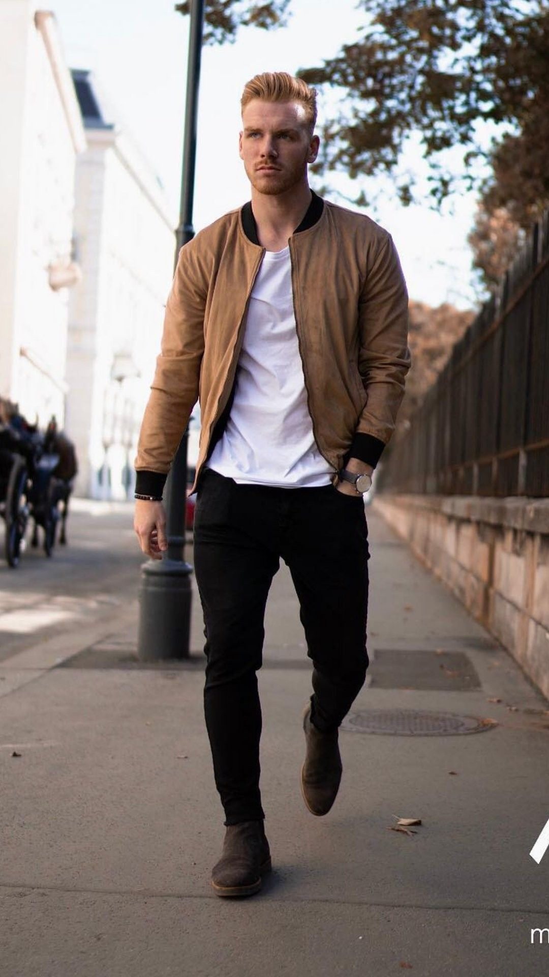 Leather bomber jacket with brown boot for gentlemen