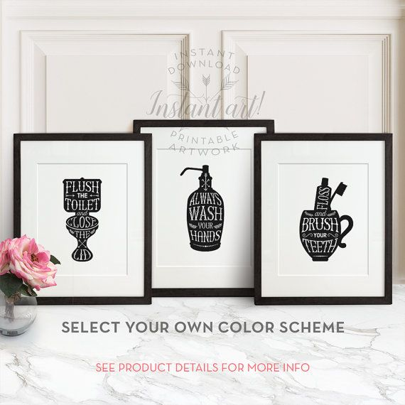 Bathroom Wall Art Printable Art Brush Your Teeth Sign Bathroom