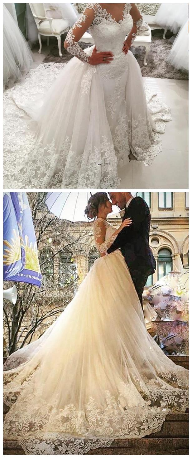 Detachable skirt wedding dress  Tulle LongSleeves bridal dresses wedding gowns VNeck Elegant