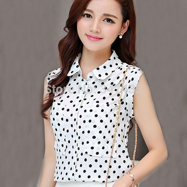 e0707757a3d4f Polka dot blouse Camisas femininas body blusa chiffon top sleeveless shirts  ladies office blouse white blusas femininas