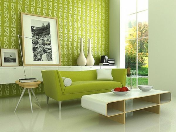 wandfarbe beistelltisch grün farbideen wandgestaltung muster - wandgestaltung wohnzimmer grun