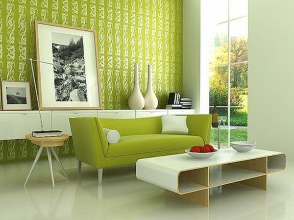 Wandfarbe Beistelltisch Grün Farbideen Wandgestaltung Muster Wohnzimmer