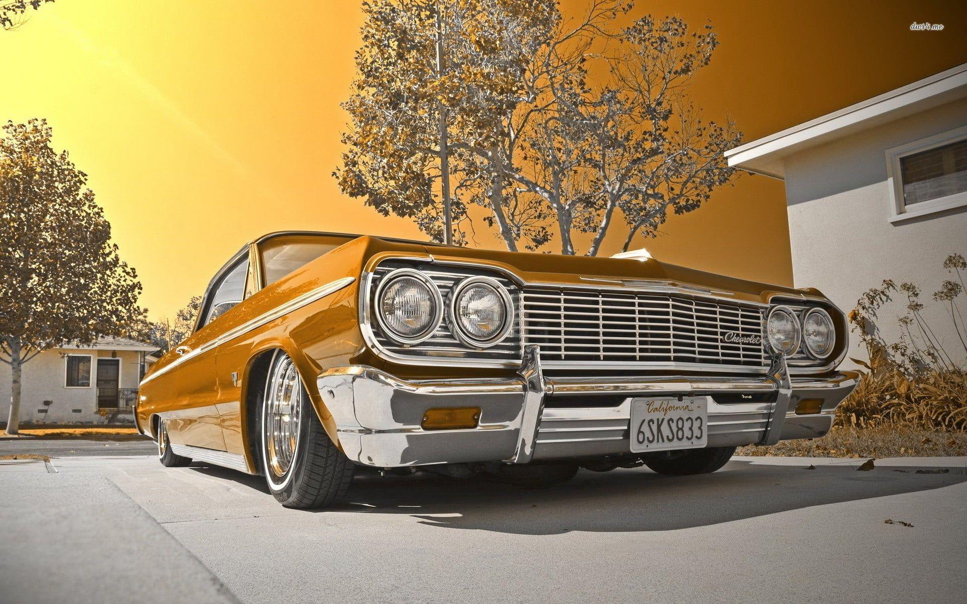 Vintage Brown Car Lowrider Chevrolet Impala 1080p Wallpaper Hdwallpaper Desktop Impala Car Chevrolet Impala Impala