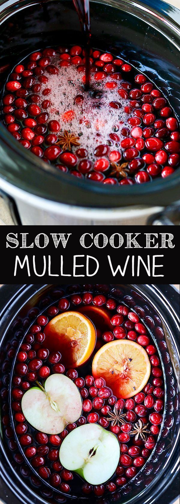 Slow Cooker Mulled Wine Red Wine Fresh Cranberries And Rum Mulled Wine Recipe Wine Recipes Slow Cooker Apples