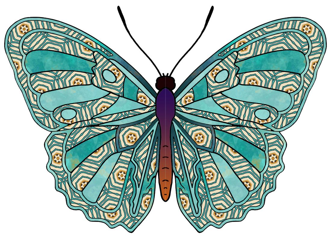 Artbyjean Butterflies Butterfly With Green And Gold Patterns Mixed With Plain Green Butterfly Art Butterfly Coloring Page Butterfly Painting [ 796 x 1100 Pixel ]