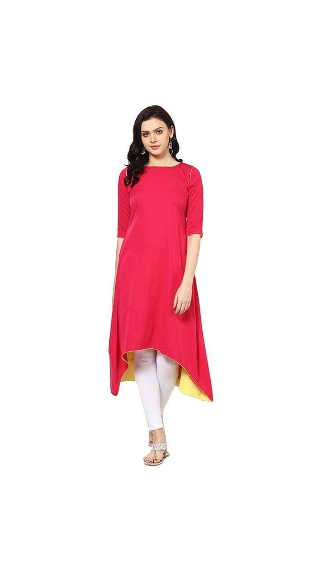 fc82050ab Buy Pink Color Plain Rayon Long Kurti Online at Low Prices in India ...