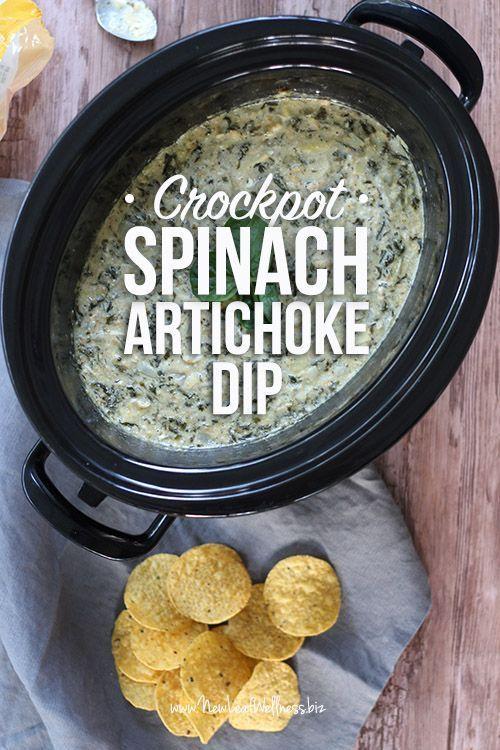 Crockpot Spinach Artichoke Dip #crockpotspinachandartichokedip