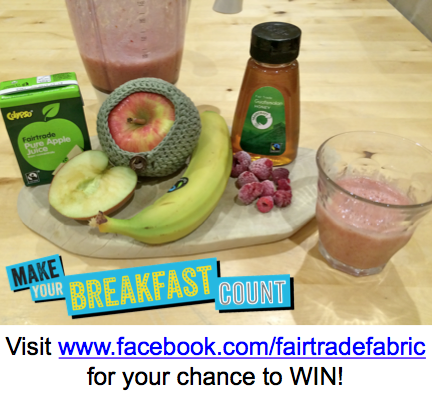 Fairtrade Fortnight day 8 prize - win at www.facebook.com/fairtradefabric, or click through for a Fairtrade smoothie recipe #fairtradefortnight #fairtrade #youeattheyeat #cotton