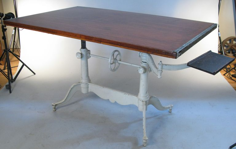 Awesome Antique Adjustable Double Pedestal Cast Iron Drafting Table | 1stdibs.com